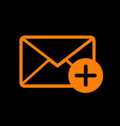 mail sign with add mark orange icon vector image