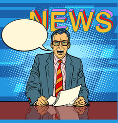 male news anchor says comic book bubble vector image