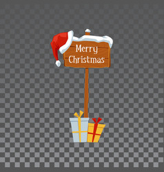 Merry christmas - wooden signpost with holiday vector