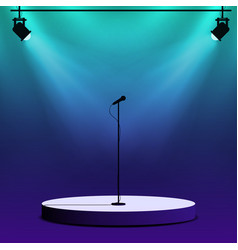 Microphone on round stage scene spotlights with vector