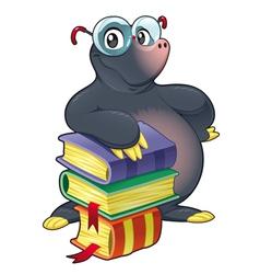 Mole with books vector
