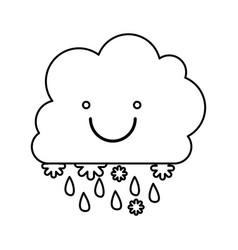 Monochrome contour with smiling cumulus of clouds vector