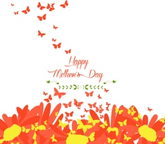 mothers day with sunflowers and butterflies vector image