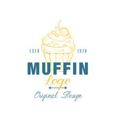 muffin logo original design estd 1978 emblem for vector image