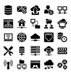 Network hosting flat icons pack vector