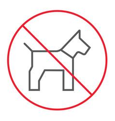 No dog thin line icon prohibition and forbidden vector