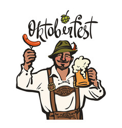 oktoberfest lettering above heerful bavarian man vector image