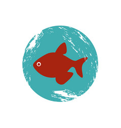 Old blue circular border with fish vector