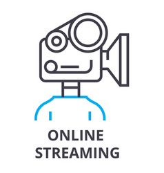 online streaming thin line icon sign symbol vector image