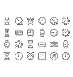 Outline clock icons line time 24 hours clocks vector