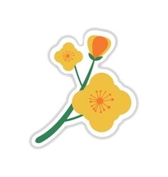 Paper sticker on white background branch in bloom vector