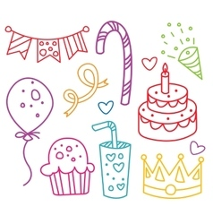 Party elements hand-drawn vector image