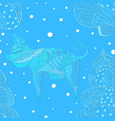 pattern with mosaic pig and christmas trees vector image