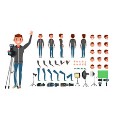 photographer man taking pictures animated vector image