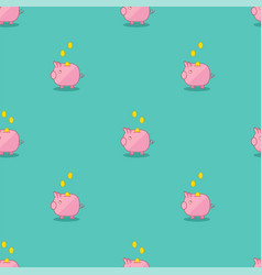 pink and green piggy bank seamless pattern vector image