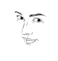 Portrait of tender dreamy still woman black and vector