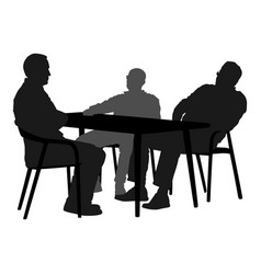 Potential worker in a job interview silhouette vector