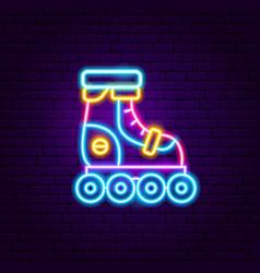 roller skating neon label vector image