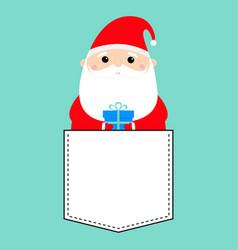 santa claus holding gift box funny face head vector image