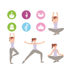 set athletic woman doing exercise vector image