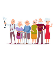 set cheerful senior people hipsters gathering vector image