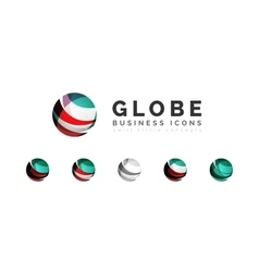 Set of globe sphere or circle logo business icons vector