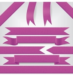 set of violet ribbons vector image