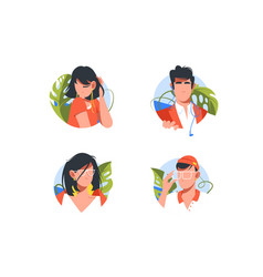set vacation icons with avatars men and woman vector image