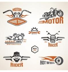 set vintage motorcycle labels badges and design vector image