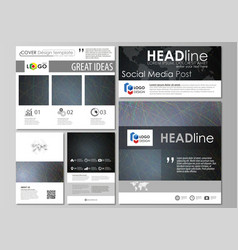 Social media posts set business templates easy vector
