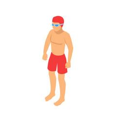 Standing single swimmer cartoon emblem vector
