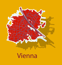 Sticker map of the city of vienna austria vector
