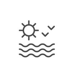 sun seascape line outline icon vector image