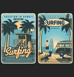 Surfing retro poster surf beach summer surfer vector