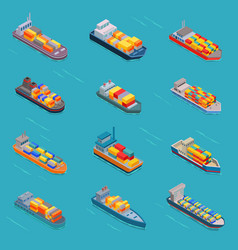 Tanker oil bulk isometric tank ships or vector