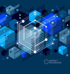 Technical blueprint blue black digital background vector