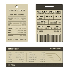 Train ticket set vector image vector image