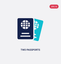 Two color two passports icon from airport vector