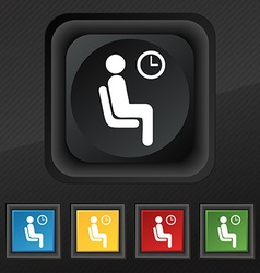 waiting icon symbol Set of five colorful stylish vector image