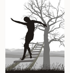 Woman on ladder vector image