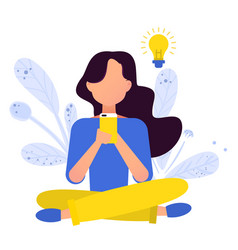 young girl is sitting with the phone vector image
