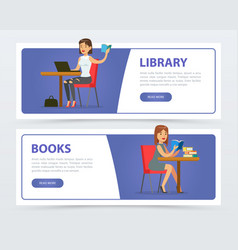 young women reading books and working with laptop vector image