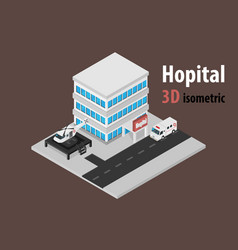 3d isometric hospital with helicopter and vector image