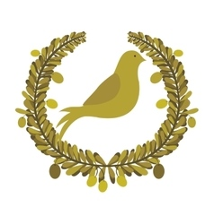 arch of leaves with pigeon with olive branch vector image vector image