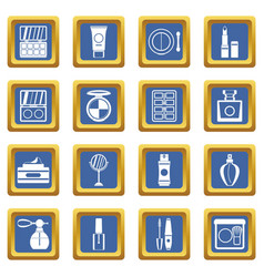 cosmetics icons set blue vector image