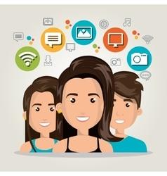 Man women web online isolated vector