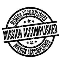 mission accomplished round grunge black stamp vector image vector image