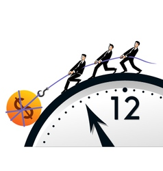 Teamwork time and money vector image vector image