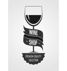 wine shop logo concept or template with glass with vector image