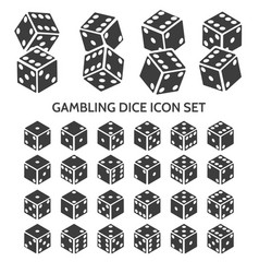 gambling dice icon set vector image vector image